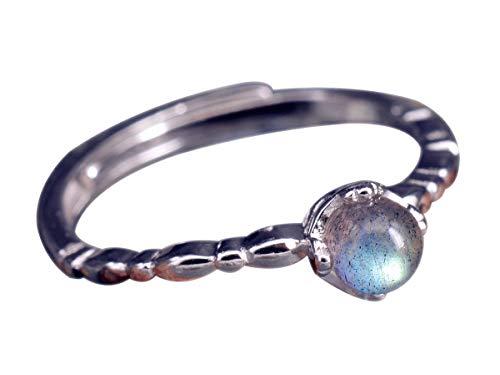 NicoWerk Damen Silberring Mondstein aus 925 Sterling Silber Kugel mit Stein Blau Glatt Dezent Verstellbar Offen SRI344