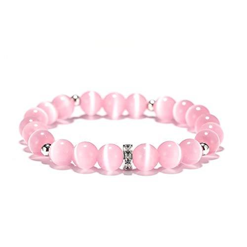 Imagen de pulsera de cuentas solidarias con cuentas de cuarzo y centro de plata con detalles de cristal, color rosa