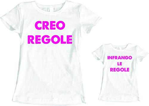 fashwork Coppia Magliette T-Shirt Madre Figlia Festa della Mamma Creo Regole, infrango Le Regole- Idea Regalo - in Cotone by
