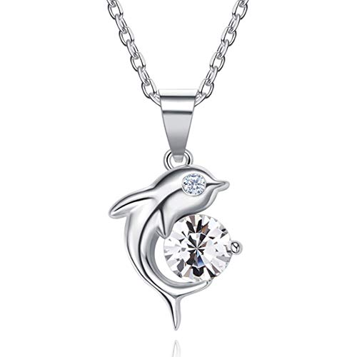 XINGYU Kette Damen Anhänger 925er Silber Halskette 5A Zirkonia Dolphin Fishtail Swarovski Kristall Liebesherz 18k vergoldet für Frauen, Silver
