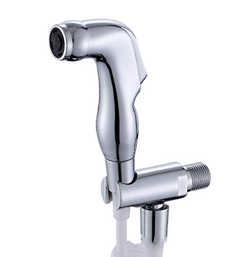 YZ-YUAN Bidet Sprayer Set, Hand Messing Sprayer Shattaf WC Bidet Duschkopf mit Schlauch und Halterung Halter für Stoffwindeln Körperpflege Reinigungspflege, Silber (Halterung Duschkopf Halter)