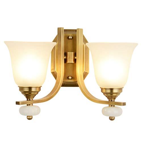 YangMi Wandlampe- Amerikanische Kupfer Wandleuchte, Landhausstil Dekorative Lampe, Warme Schlafzimmer Lampe Nachttischlampe, Wohnzimmer Hintergrund Wandleuchte (Farbe : Messing, größe : 38x26cm)