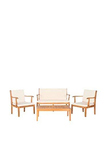 Safavieh Tisch und Stühle, 4-Teiliges Set für den Garten, Holz, teakbraun/naturfarben, 65 x 63 x 81 cm