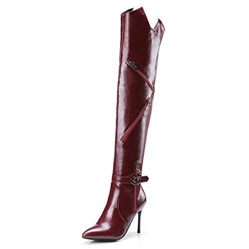Damen Hohe Stiefel Overknees Hoher Absatz Stilett Damen Sexy Leder PU Oberschenkel Hoch Stiefel,Red-EU:43=12B(M) ()
