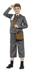 Smiffys-45010T Disfraz de refugiado de la 2a Guerra Mundial para Chico, con Chaqueta, pa Color Gris T - Edad 12 años + Smiffy