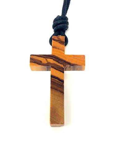 Halskette mit Kreuz aus echtem Olivenholz - handgemacht - Holzschmuck - Schmuck aus Olivenholz - Kette - Rosenkranz