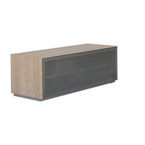 Outline 1250 Meuble TV AV Support - perforé en aluminium Porte en maille filet - Idéal pour barres de son - Design anglais Chêne naturel