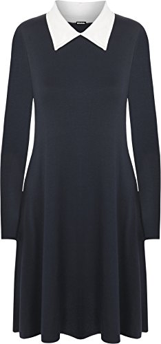 WearAll - Grande Taille Collier plaine manches longues Robe trapèze - Femmes - Robe - Grande Tailles - 44-54 Bleu Marine Blanc