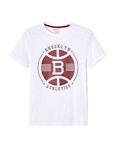 Celio Herren T-Shirt Legraph Weiß (Optical White)