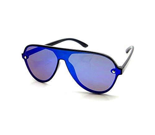 60ca683b56 Lunettes Soleil Miroir Homme Femme Style Carrera Mono-verre Miroir Sport  TOPCAR (Bleu)