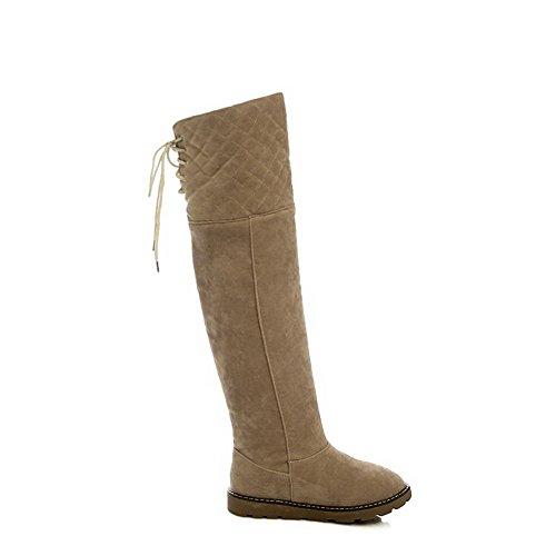 VogueZone009 Damen Hoch-Spitze Rein Schnüren Hoher Absatz Stiefel mit Knoten, Aprikosen Farbe, 38