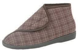 Mens Brown X Wide Fit Machine Washable Velcro Boot Slippers - Brett II - Brown - size UK Mens Size 8