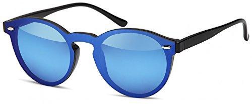styleBREAKER Monoglas Sonnenbrille mit Flachgläsern und Kunststoff Bügel, runde Glasform, Unisex 09020081, Farbe:Gestell Schwarz/Glas Blau verspiegelt