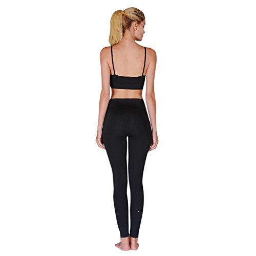Bornbayb Pantalon de yoga 2 pièces à séchage rapide pour femmes Activewear Gym Running Pantalon à bretelles ajourées Leggings Noir