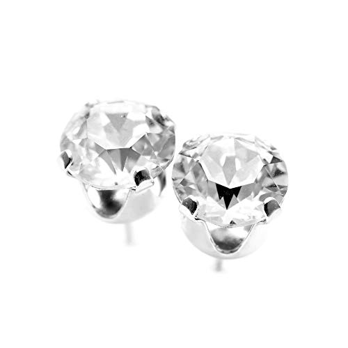 pewterhooter® women's 925 Sterling silver stud earrings made with sparkling Diamond White crystal from Swarovski®. Gift…