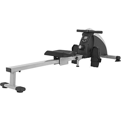GORILLA SPORTS® Rudergerät mit Trainingscomputer Grau/Schwarz - bis 120 kg belastbar