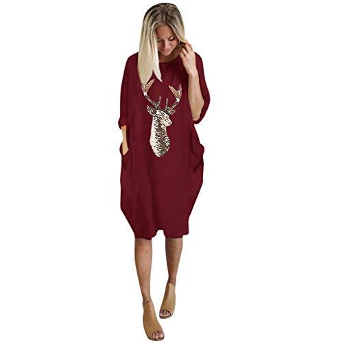 WOZOW Les Femmes Grandes Tailles Lâche La Robe De Dames O Cou Longue Poche Noël Cadeaux à Manches Longues Wapiti Casual(Rouge,5XL)