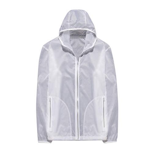 feiXIANG Damen Herren Sonnenschutzkleidung Winddichte Jacke Radsportanzug Outdoor Sport Quick Dry Coat Top(Weiß,S) -