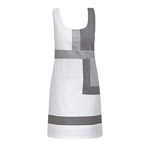 Tpulling Frauen Casual Shift Geometric Print Kleid Oansatz Sleeveless Minikleider Sommer Kurz High Waist Rock A Linie Mini Rock (Mädchen Shift Kleider)