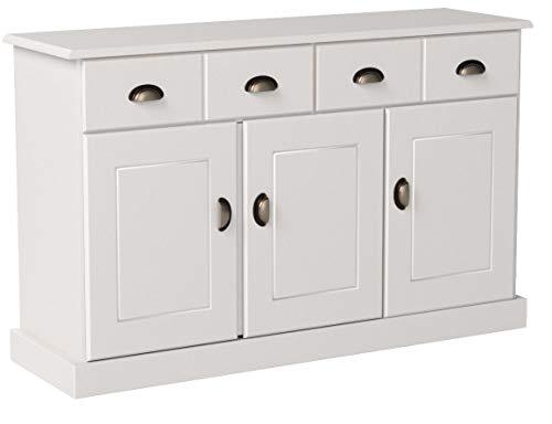 IDIMEX Buffet Paris Commode bahut vaisselier avec 3 Portes battantes et 2 tiroirs pin Massif lasuré Blanc