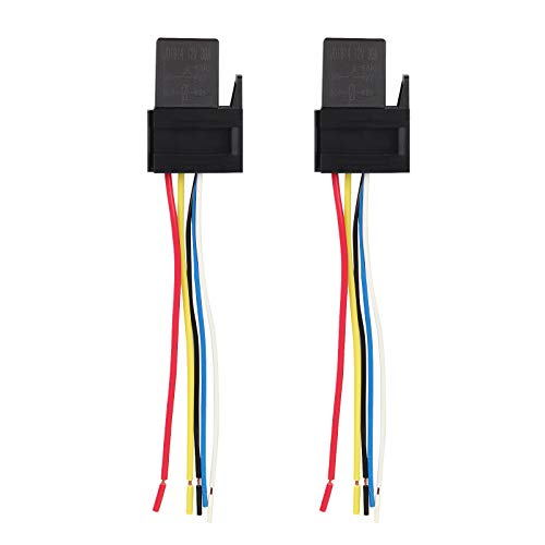 Ehdis 5 Pin Leitungen Kabel ReIaissockel Harness Stecker 12VDC 30A SPDT Multi-Purpose Heavy Duty Standard-Relay-Kits für Auto, 2 Packung - Heavy Duty Standard Kit