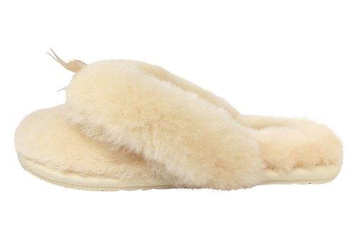 UGG Australia Fluff Flip Flop–Tongs en fourrure pour femme Beige