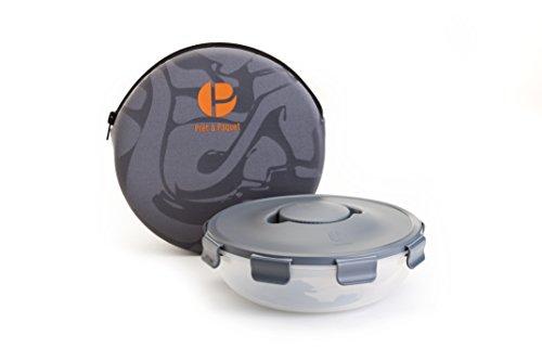 Boîte à salade ronde et pratique avec kit sauce au centre et housse néoprène adaptée- 3 Compartiments- Sans BPA- Passe au lave-vaisselle, congélateur, micro-ondes. Optimale pour conserver et emporter vos salades, tout en contrôlant les portions - Convient pour adultes et enfants-Facile à laver et sécher