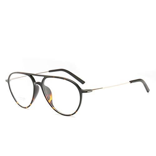 Shiduoli Brillengestell doppelter Nasenstrahl ovale Unisex-Brillen, Nicht verschreibungspflichtige Brillen für Damen, Herren (Color : Leopard)