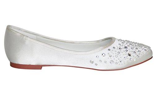 Flache Ballerina Brautschuh Weiß - 6