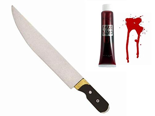 Seemeinthat Fake Blut und Schaum Messer Set für Halloween Zombie oder Schreien Film TV Charakter Horror Grusel Clown Set Killer IT Kit ()