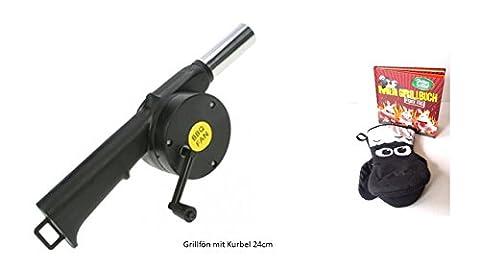 Grill BBQ Grill-Ventilator-Luft-Gebläse für Outdoor Picknick Camping Kochen neu mit Kurbel + Schaun das Schaf Grillhandschuh und Mein Grillbuch