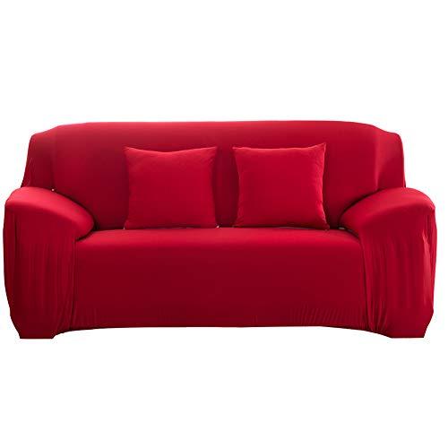 Cafopgrill copridivano elastico antiscivolo per divano elastico sfoderabile copridivano per divano in tessuto elastico/due/tre/quattro posti rosso(2 seater :145-185cm)