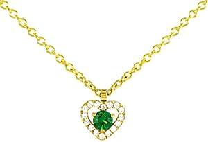 Tous mes bijoux - Collier avec pendentif - Or jaune 9 cts - Émeraude - 42 cm - CODM01025