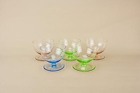 5 Bunte Kristall Art Deco Glas Kleine Party-Vintage Ale CHAMPAGNE SAUCERS Klassische Stem Alte Geschenk Englisch 1930 LS