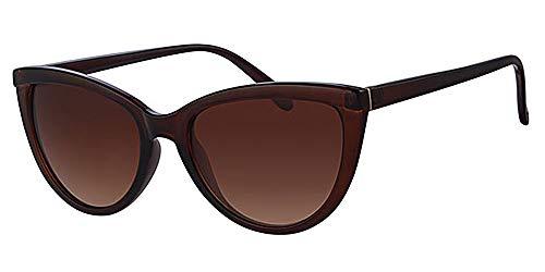 Retro-Sonnenbrille mit Cat Eye-Rahmen, Braun, mit gelber Halskordel, Metall-Scharniere