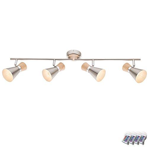 Decken Lampe Dimmer Fernbedienung Holz Spot Leuchte verstellbar im Set inkl. RGB LED Leuchtmittel