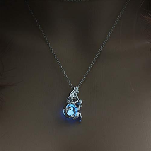 JOOFFF Mädchen Halskette Einzigartiges Design Anhänger Halskette Glow In The Dark Leuchtende Halskette Lange Kette Charm Hollow Halskette, Sky Blue