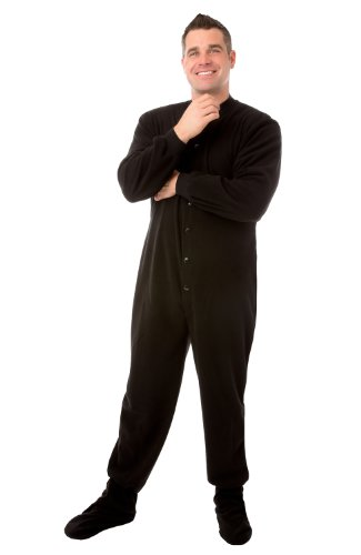 Big Feet PJs Nero micro-polar Fleece adulti Footed pigiama W/bum-flap
