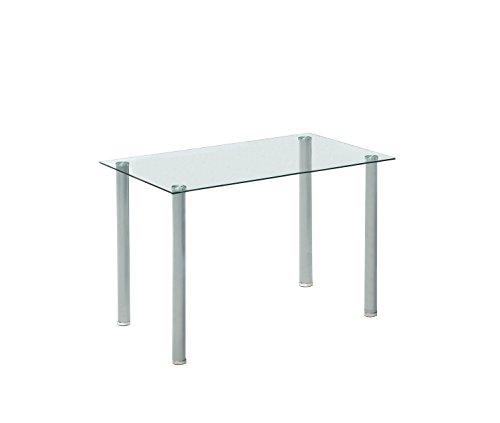 AVANTI TRENDSTORE - Minolta - Tavolo con piano in vetro temperato, piedi in metallo, dimensioni: LAP 120x75x70 cm