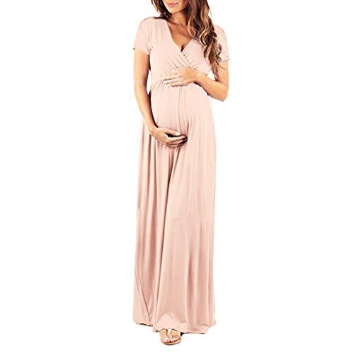 Mutterschaft Mutter Kurzarm V-Ausschnitt Umstandskleid Schwanger Frauen Stillzeit Lange Kleider Hohe Taille A-Linie Mode Abendkleid Nursing Baby Umstandsmode Maxikleid