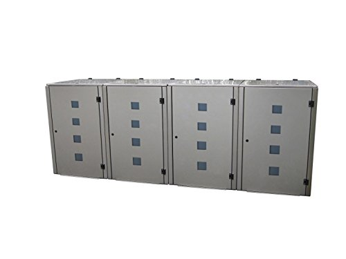 Mülltonnenbox Edelstahl, Modell Eleganza Quad 240 Liter als Viererbox