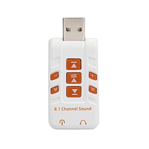 kingko® Externe USB2.0 Soundkarte Audio Sound Mic 8.1 3D Surround Adapter Mit der modernsten Technologie von Xear 3D (Weiß) - 3