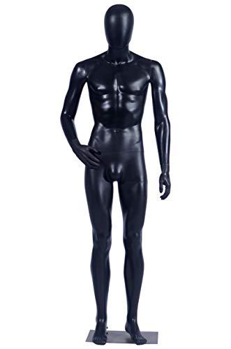 Eurotondisplay MC-1Black männliche Schaufensterpuppe beweglich matt schwarz