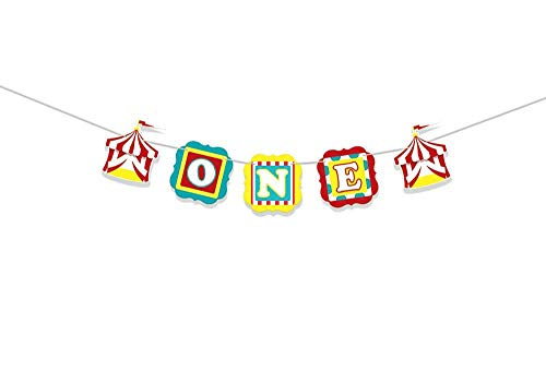 any ONE Banner Circus Party Supplies 1st Birthday Decorations Carnival High Chair Banner Circus Birthday First Birthday ONE High Chair Banner 1st Birthday Banner Party Decorations ()