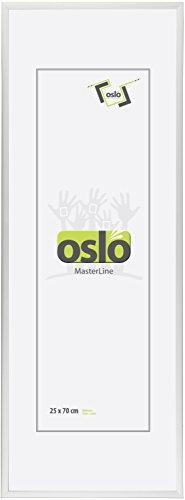 OSLO MasterLine Bilderrahmen 25 x 70 Silber Kunststoff schmal Echt-Glas Posterrahmen Panoramarahmen Collagen-Rahmen