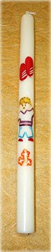 Vela de Bautizo Decorada con Flores, un Niño y Globos Rojos. Dibujado a Mano.(Rojo)-