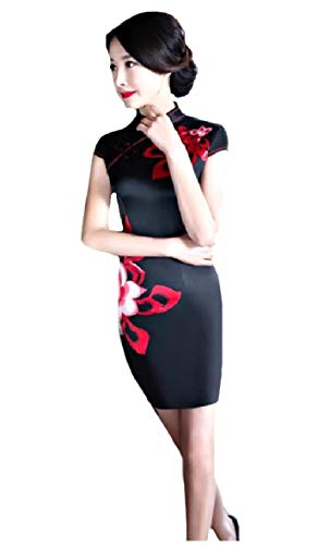 CuteRose Women's Charmeuse Flower Print Short Sleeve Photography Dress Black XS - Charmeuse-print Halter Dress
