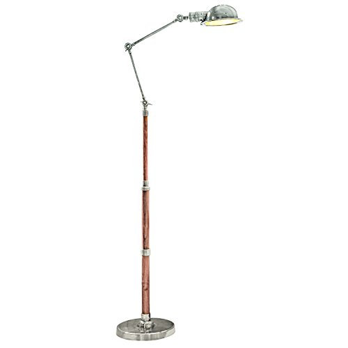 LOBERON Stehlampe Memphis, Messing, H/Ø ca. 187/24,5 cm, antiksilber/braun, Energieeffizienzklassen A++ bis E