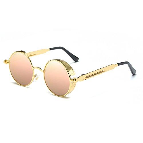 RONSOU Steampunk Estilo Redondo Vintage Polarizadas Gafas de Sol Retro Gafas  UV400 Protección Metal Marco dorado 518c5ab69922