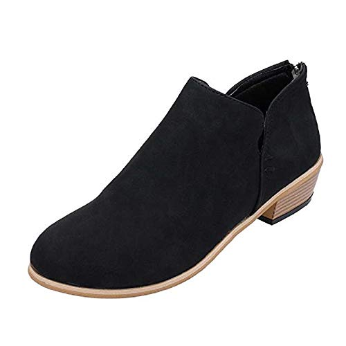Hafiot Chelsea Boots Stiefeletten Damen Kurzschaft Leder Kurze mit Absatz Ankle Boots Winter Reissverschluss Bequem Stiefel 3cm Beige Rosa Grau 35-43 BK42 -
